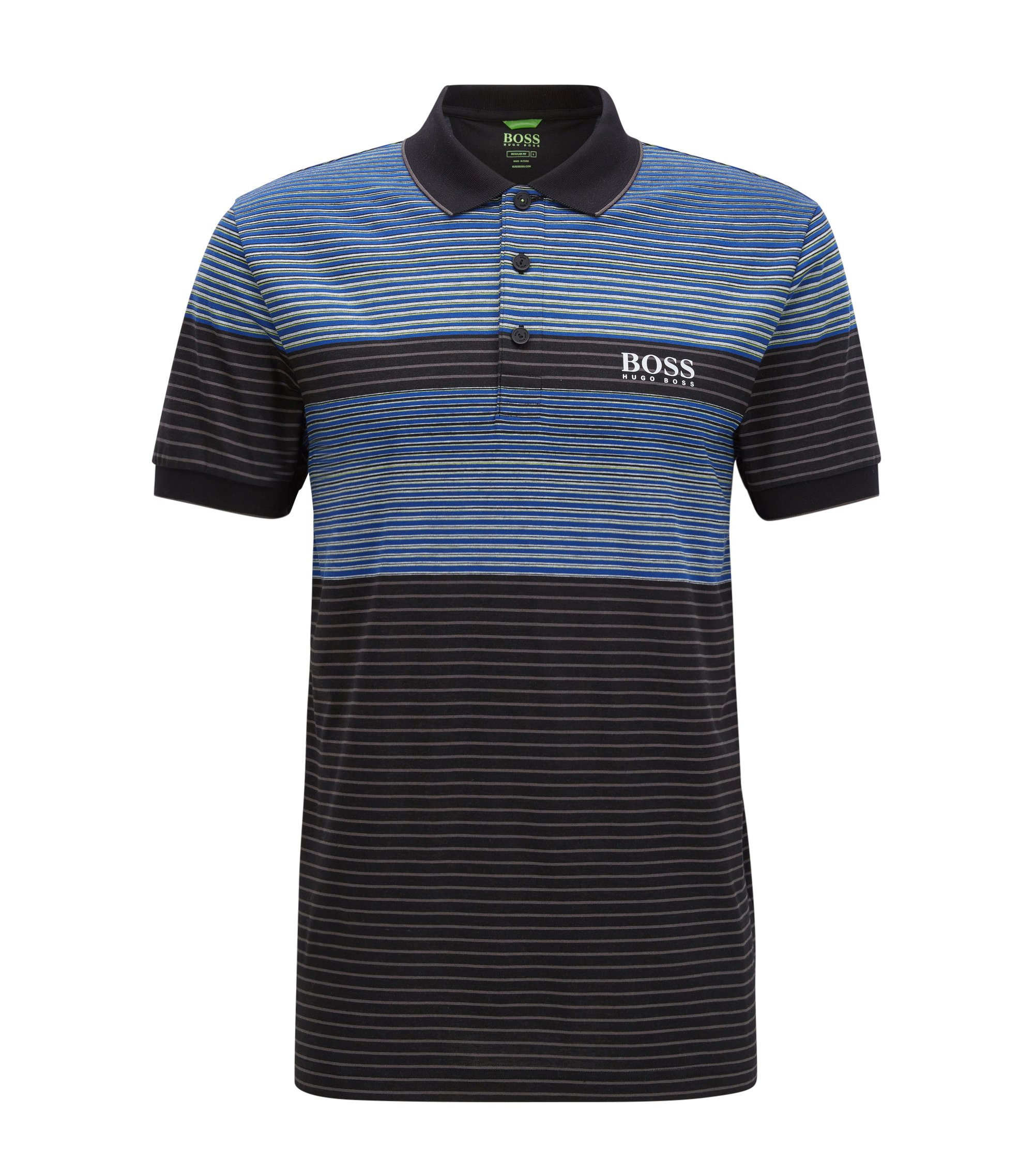 Striped Stretch Cotton Polo Shirt, Regular Fit | Paddy Pro, Black