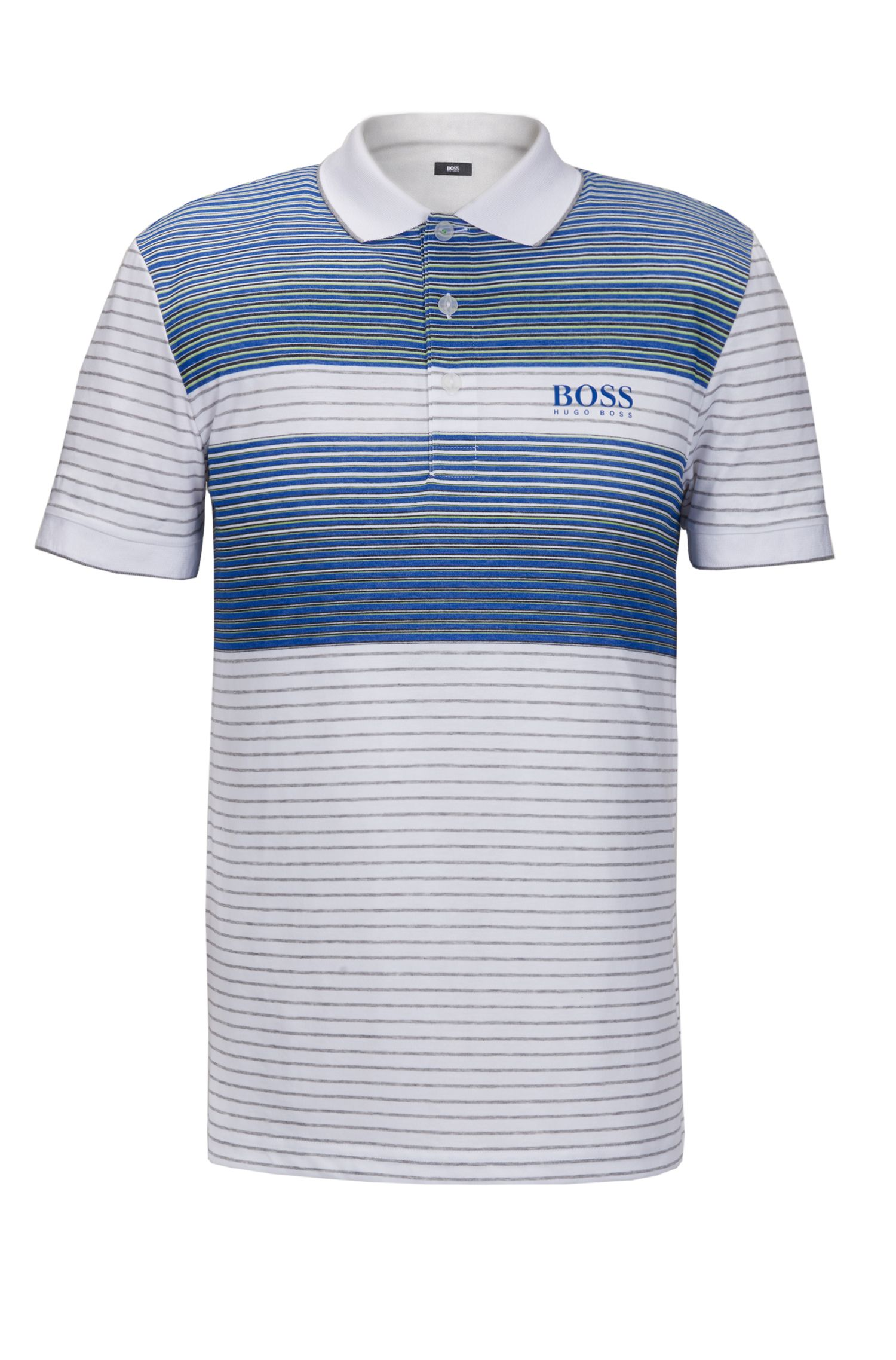 Striped Stretch Cotton Polo Shirt, Regular Fit | Paddy Pro