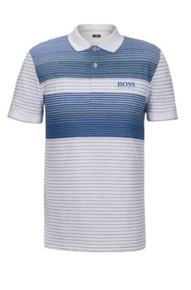 Striped Stretch Cotton Polo Shirt, Regular Fit | Paddy Pro, White