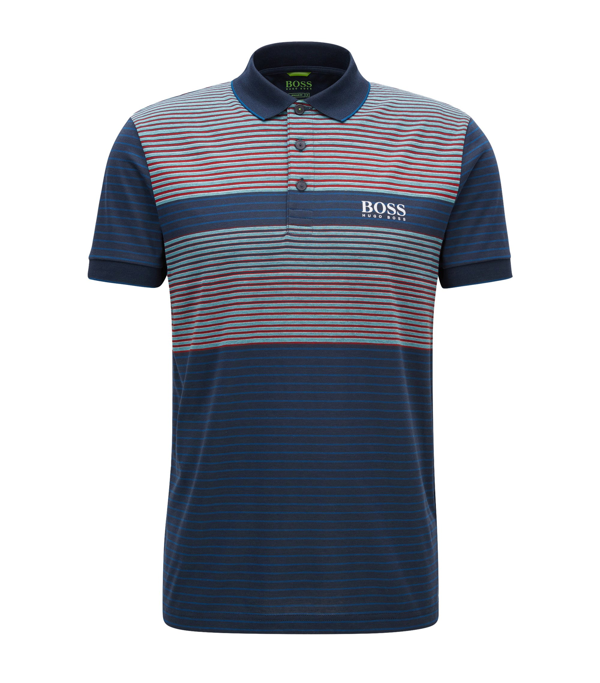 Striped Stretch Cotton Polo Shirt, Regular Fit | Paddy Pro, Dark Blue