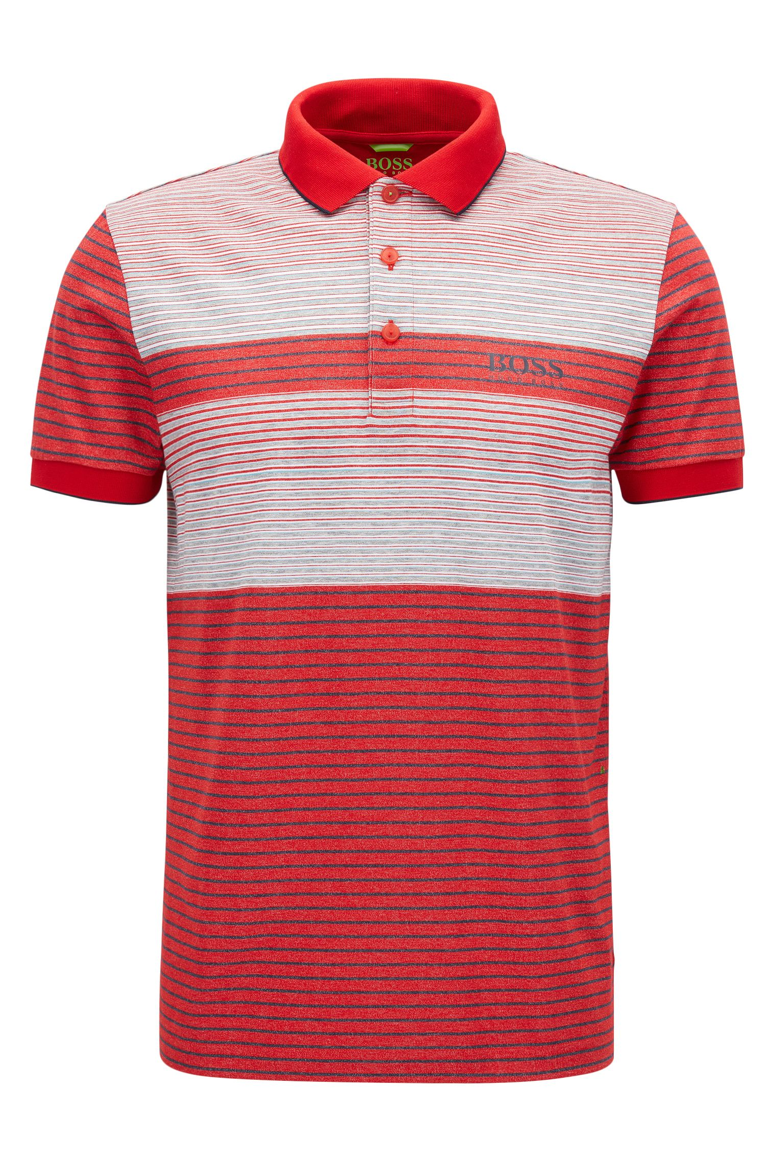 Striped Stretch Cotton Polo Shirt, Regular Fit | Paddy Pro