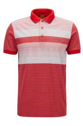 Striped Stretch Cotton Polo Shirt, Regular Fit | Paddy Pro, Red
