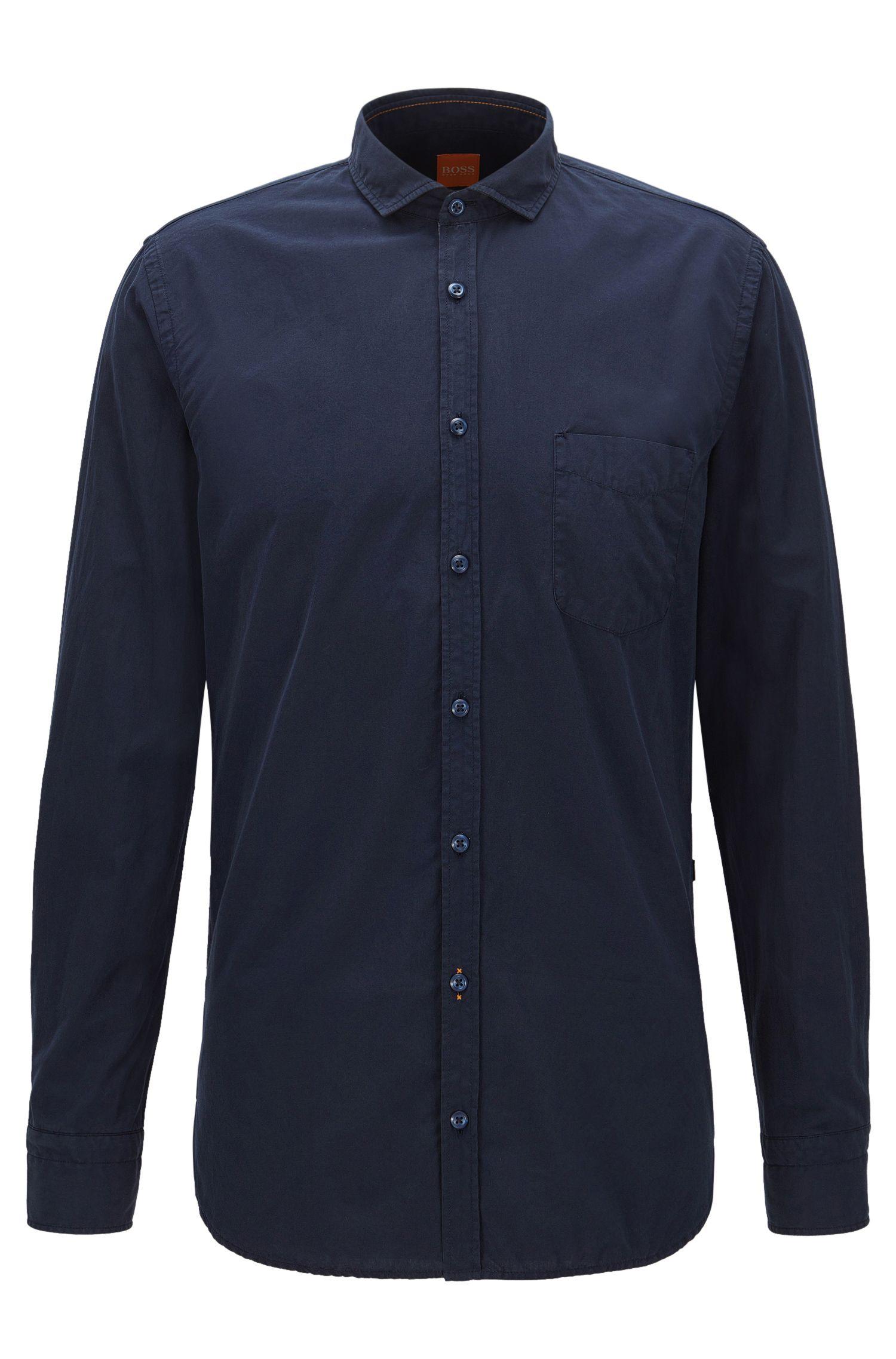 Cotton Poplin Button Down Shirt, Slim Fit | Cattitude Short, Dark Blue