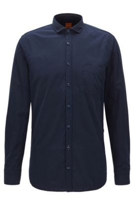 'Cattitude Short' | Slim Fit, Cotton Poplin Button Down Shirt, Dark Blue