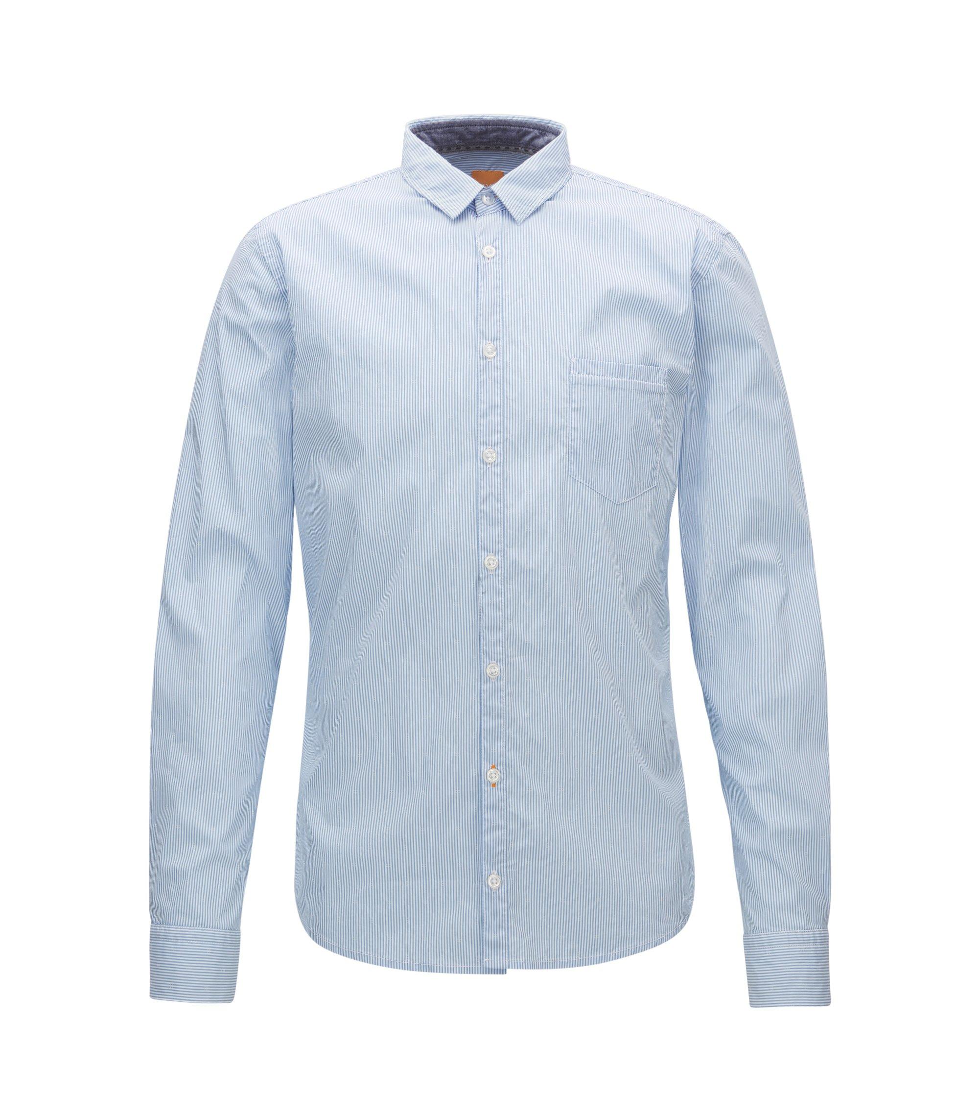 Striped Stretch Cotton Button Down Shirt, Extra Slim Fit | Eglam, Open Blue