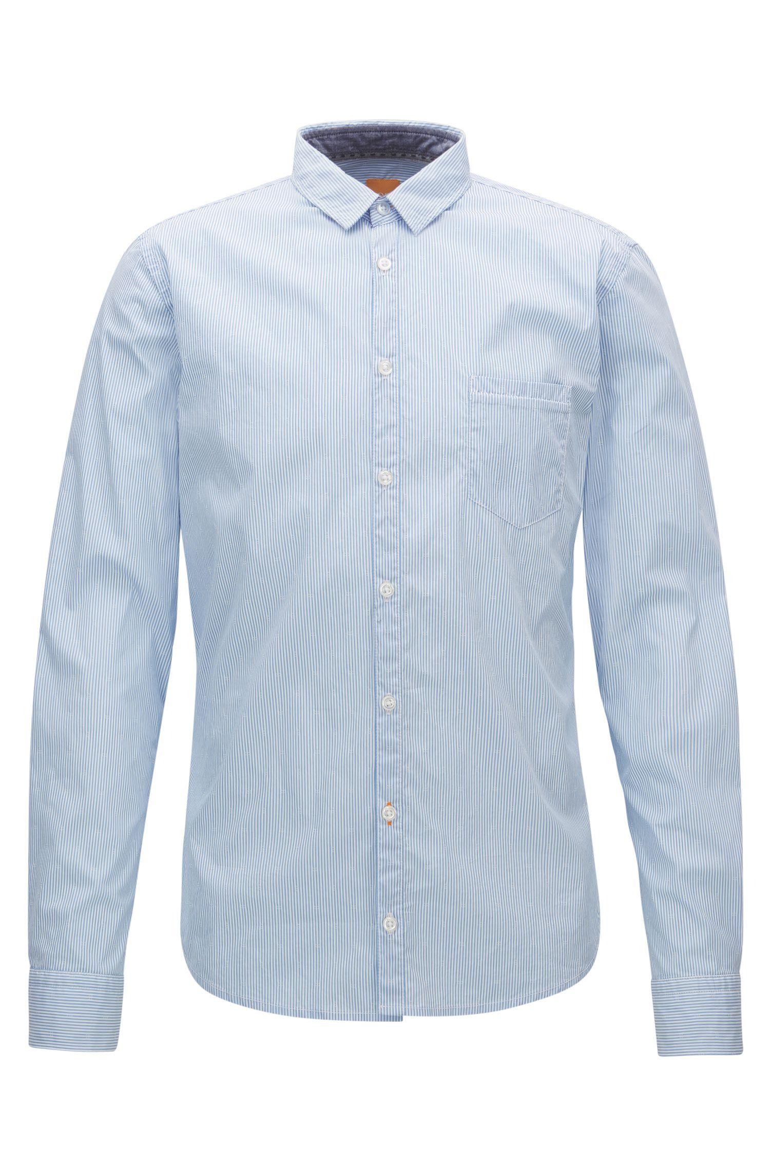Striped Stretch Cotton Button Down Shirt, Extra Slim Fit | Eglam
