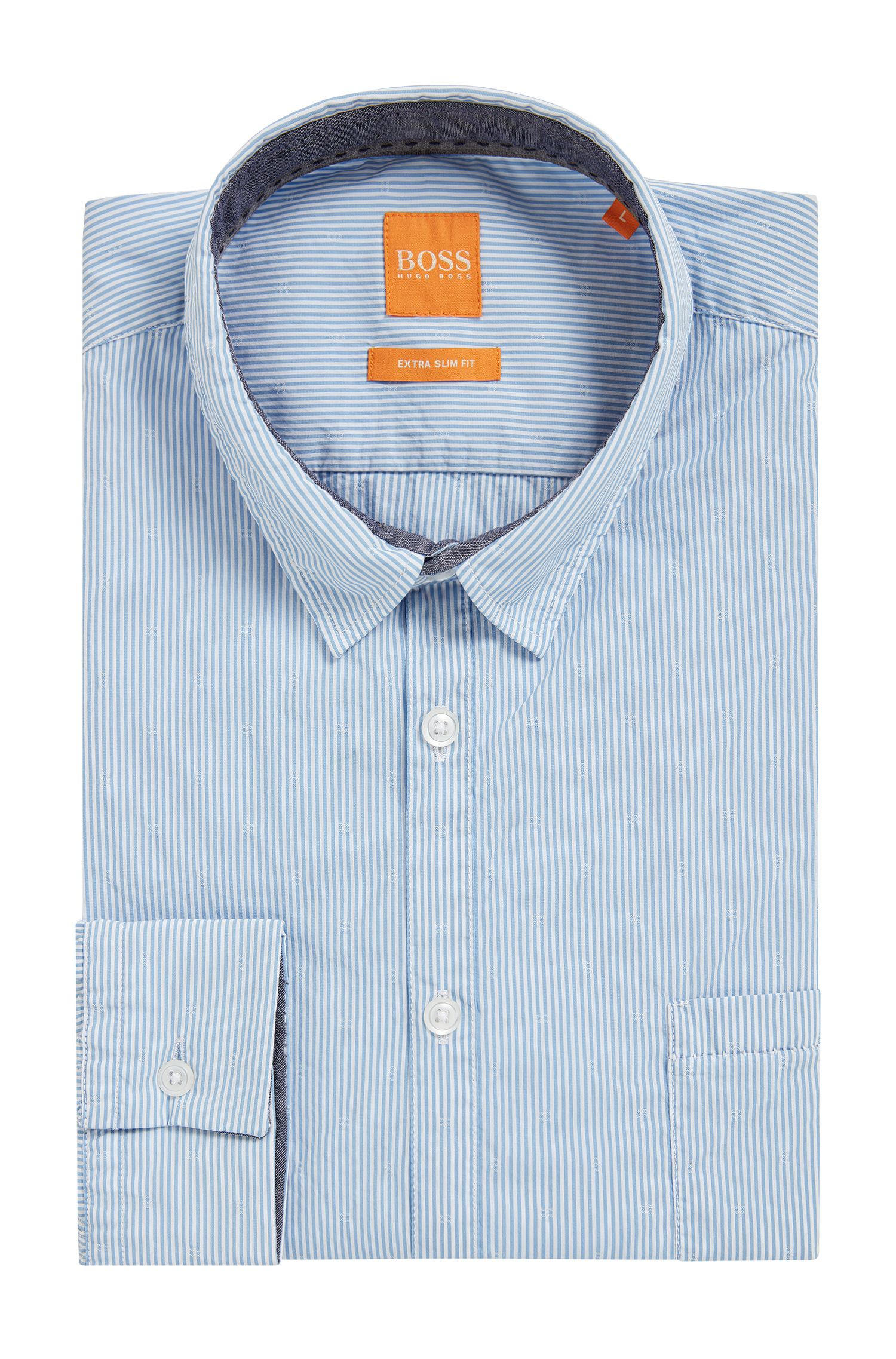 Striped Stretch Cotton Button Down Shirt, Extra Slim Fit | Eglam
