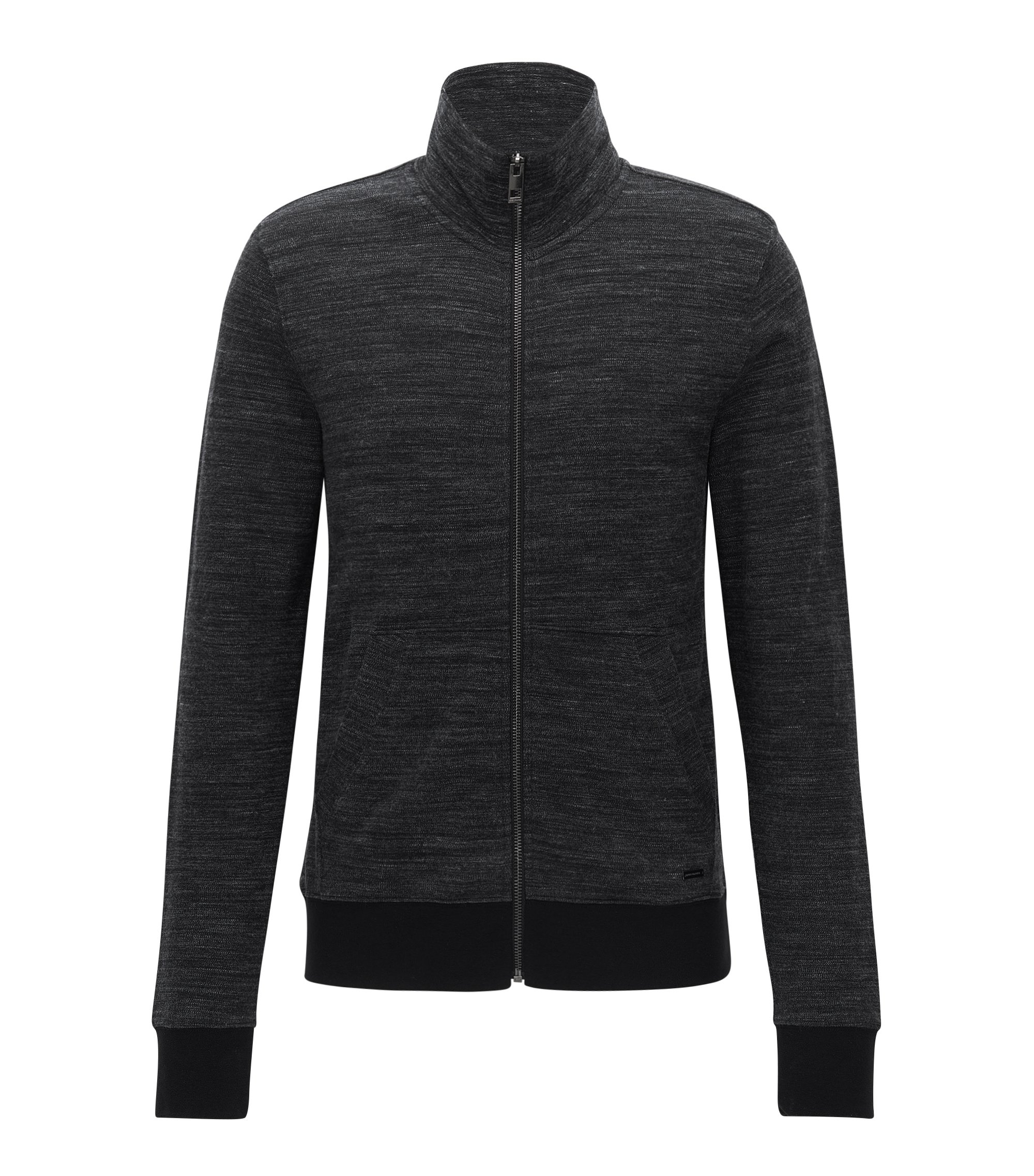 Stretch Cotton Jersey Zip Jacket | Zayan, Black