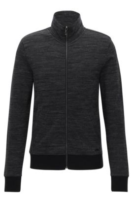 'Zayan' | Stretch Cotton Jersey Zip Jacket, Black