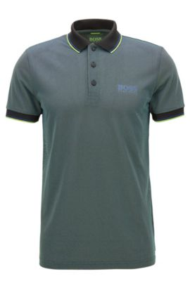 Graphic Polo Shirt, Slim Fit | Paule Pro, Black