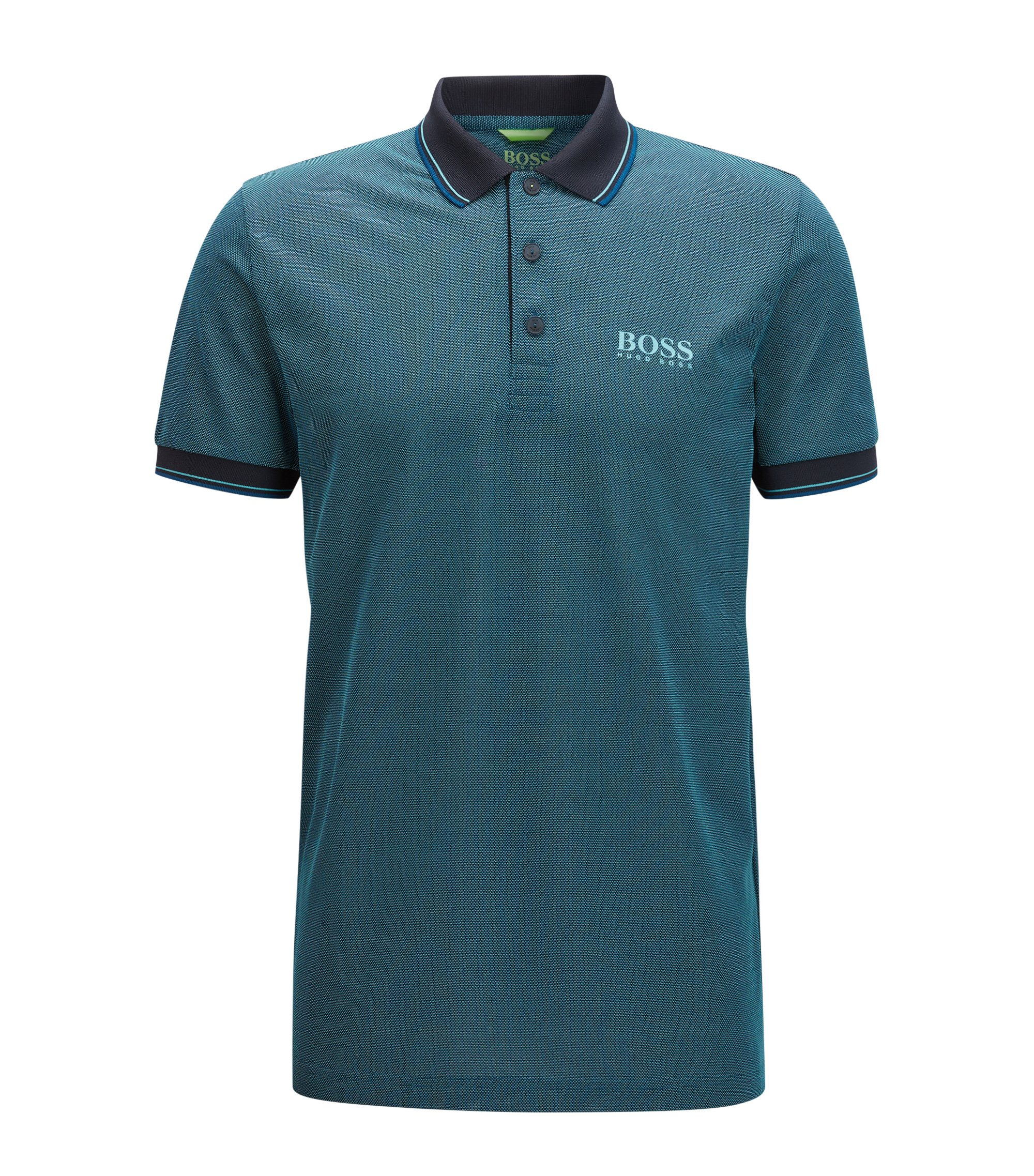 Graphic Polo Shirt, Slim Fit | Paule Pro, Dark Blue