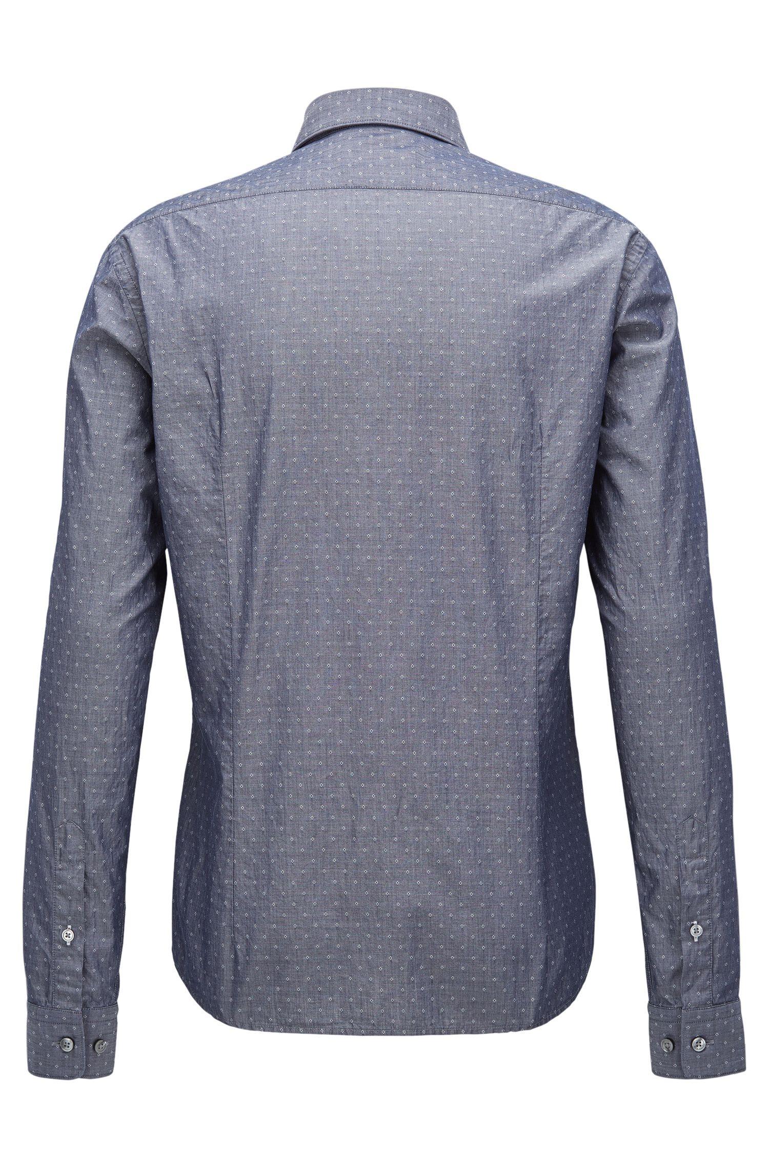 Diamond Dobby Cotton Button Down Shirt, Regular Fit | Lance, Dark Blue