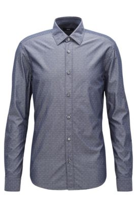 Diamond Dobby Cotton Button Down Shirt, Regular Fit | Lance, Dark Blue