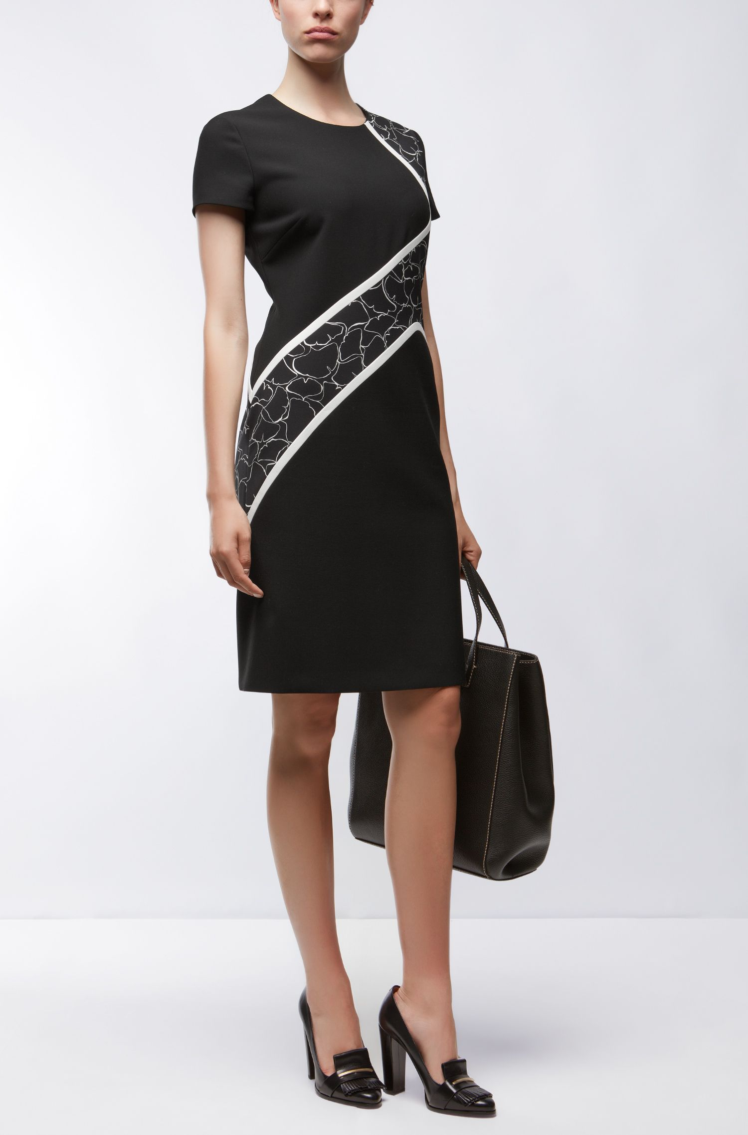 Ginkgo-Print Stretch Sheath Dress | Dukatia, Black