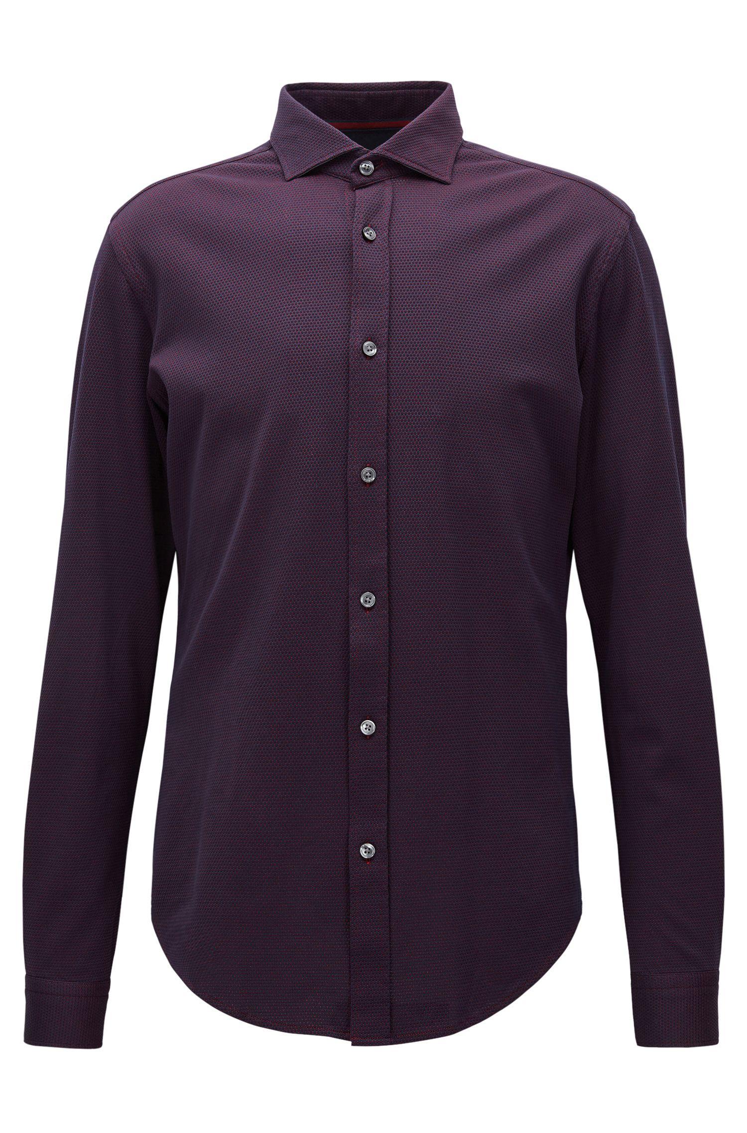 Textured Stretch Cotton Sport Shirt, Slim Fit | Ridley, Dark Blue
