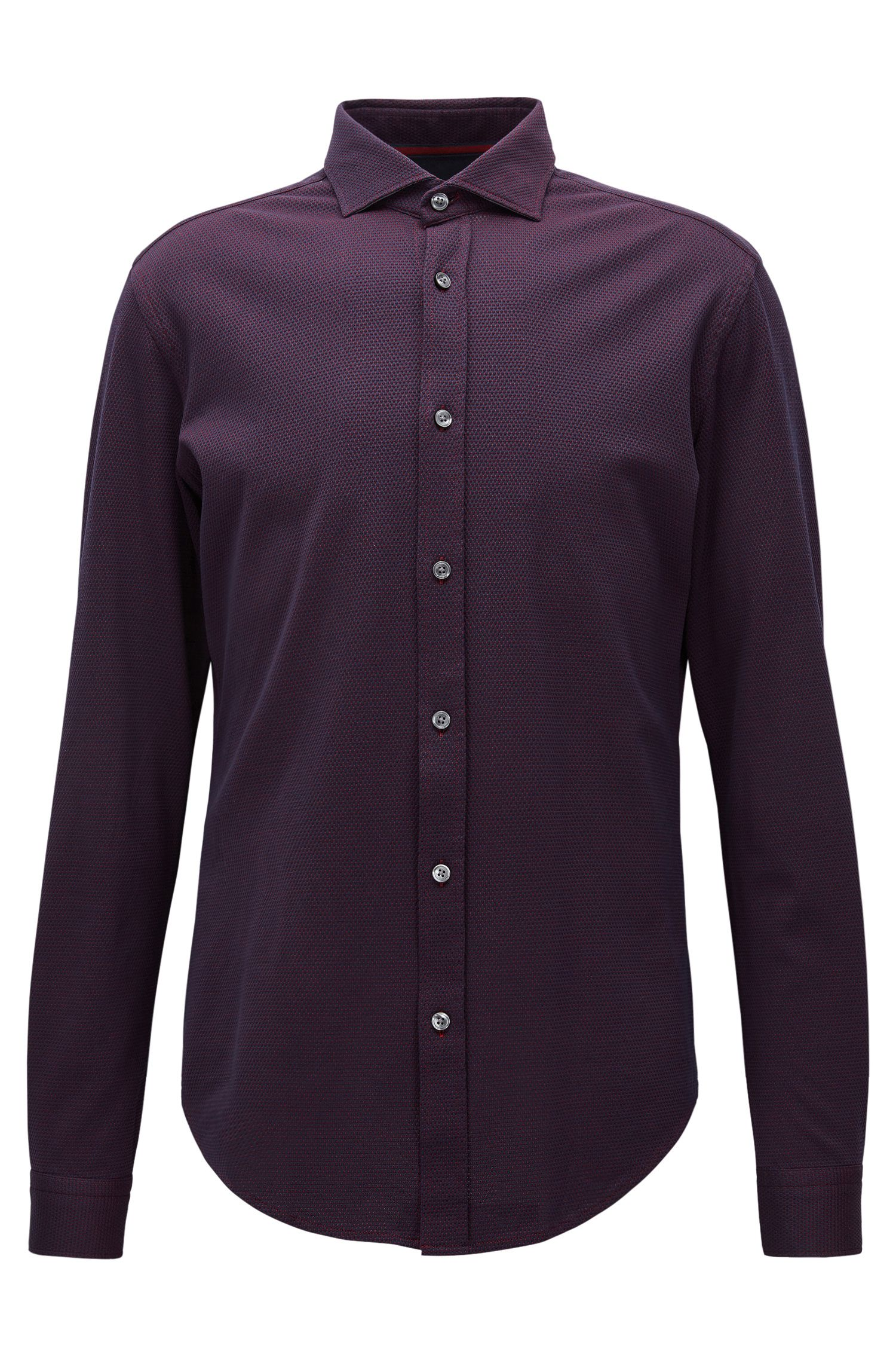 Textured Stretch Cotton Sport Shirt, Slim Fit | Ridley