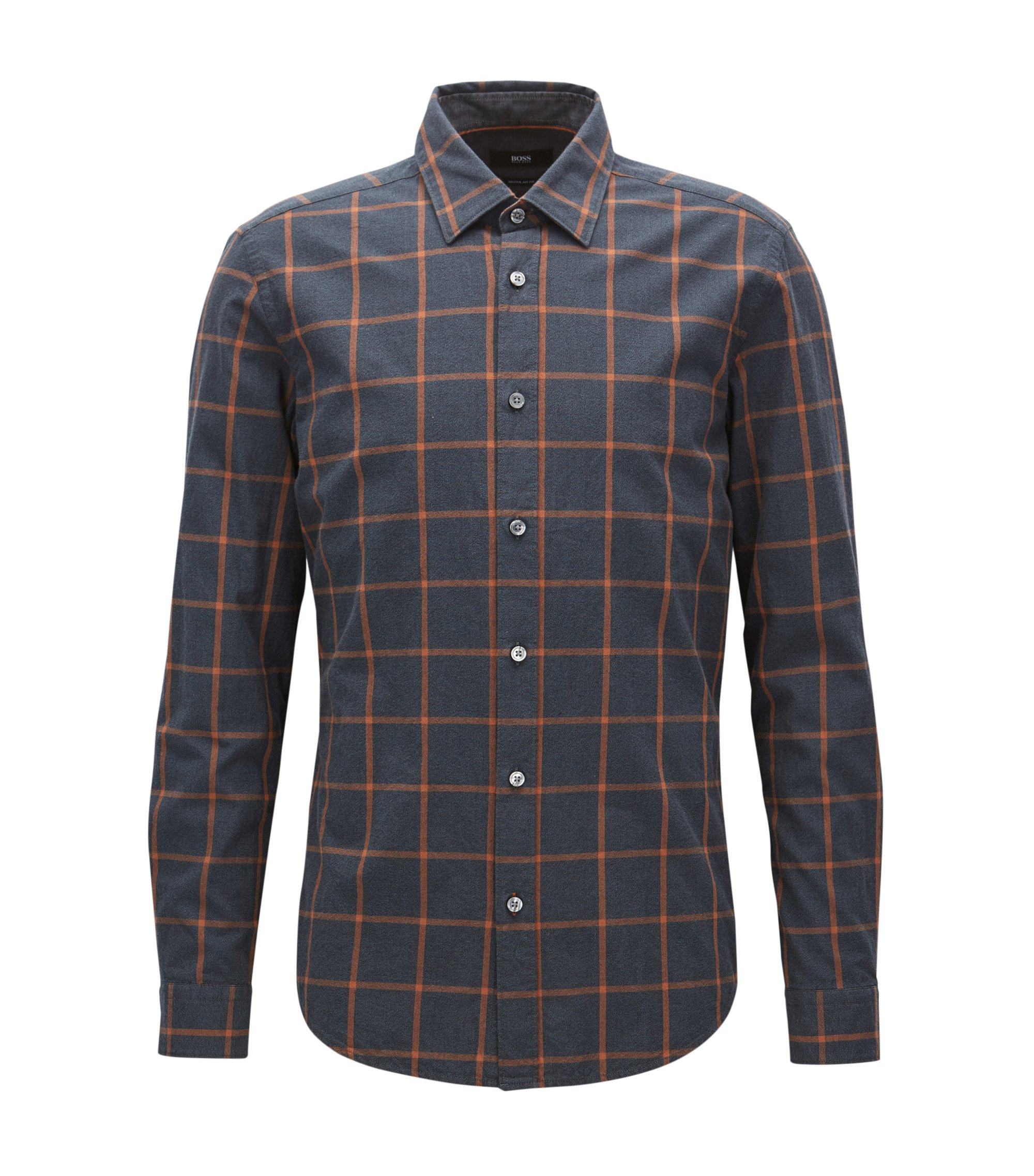Windowpane Cotton Button Down Shirt, Regular Fit | Lukas, Brown