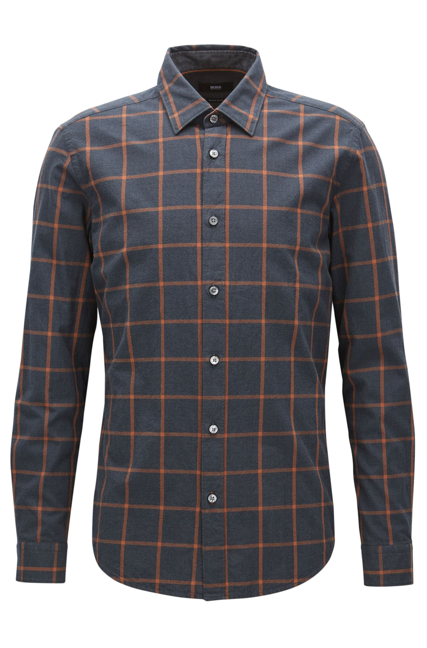 Windowpane Cotton Button Down Shirt, Regular Fit | Lukas