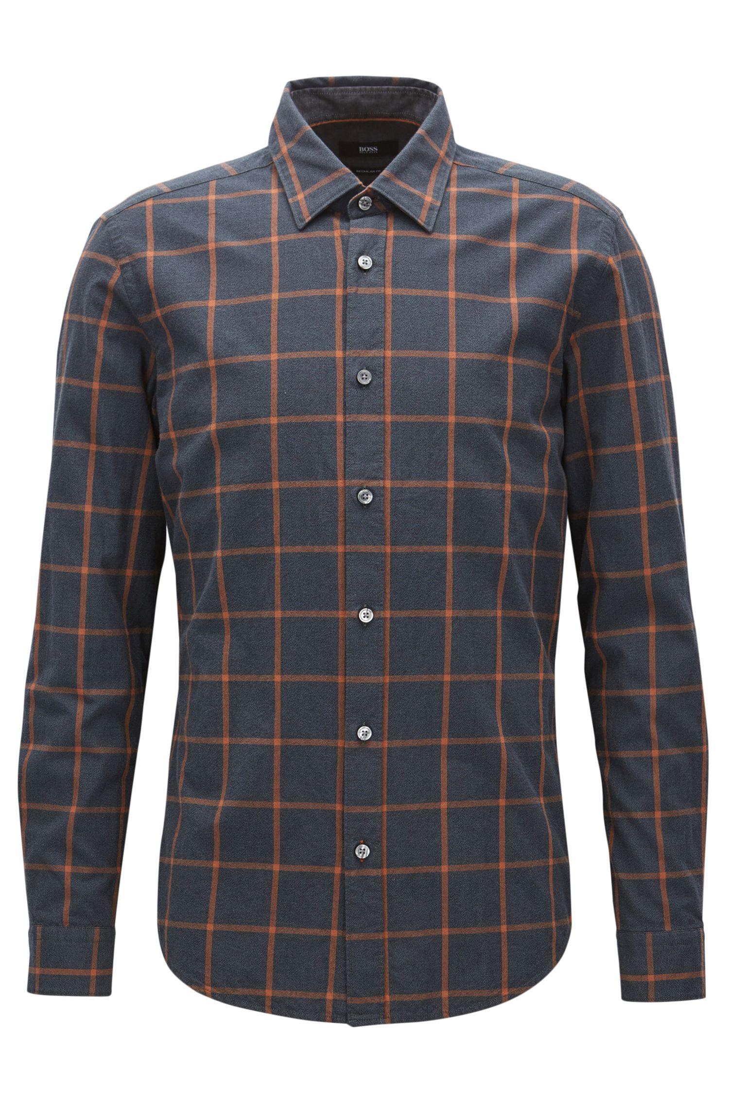 'Lukas' | Regular Fit, Windowpane Check Cotton Button Down Shirt