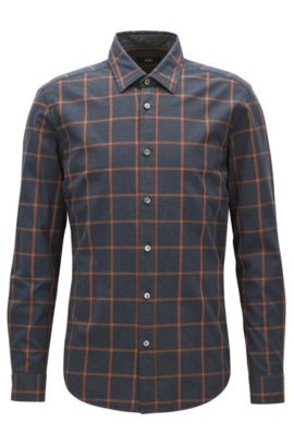 'Lukas' | Regular Fit, Windowpane Check Cotton Button Down Shirt, Brown