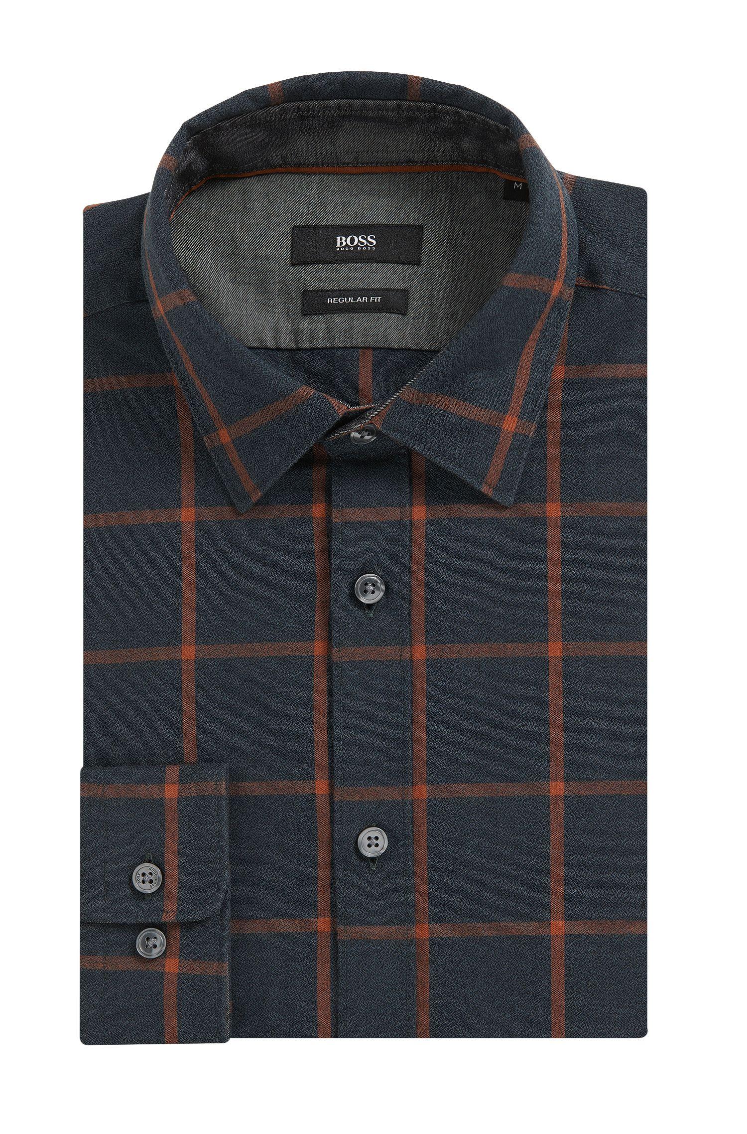 Windowpane Cotton Button Down Shirt, Regular Fit | Lukas