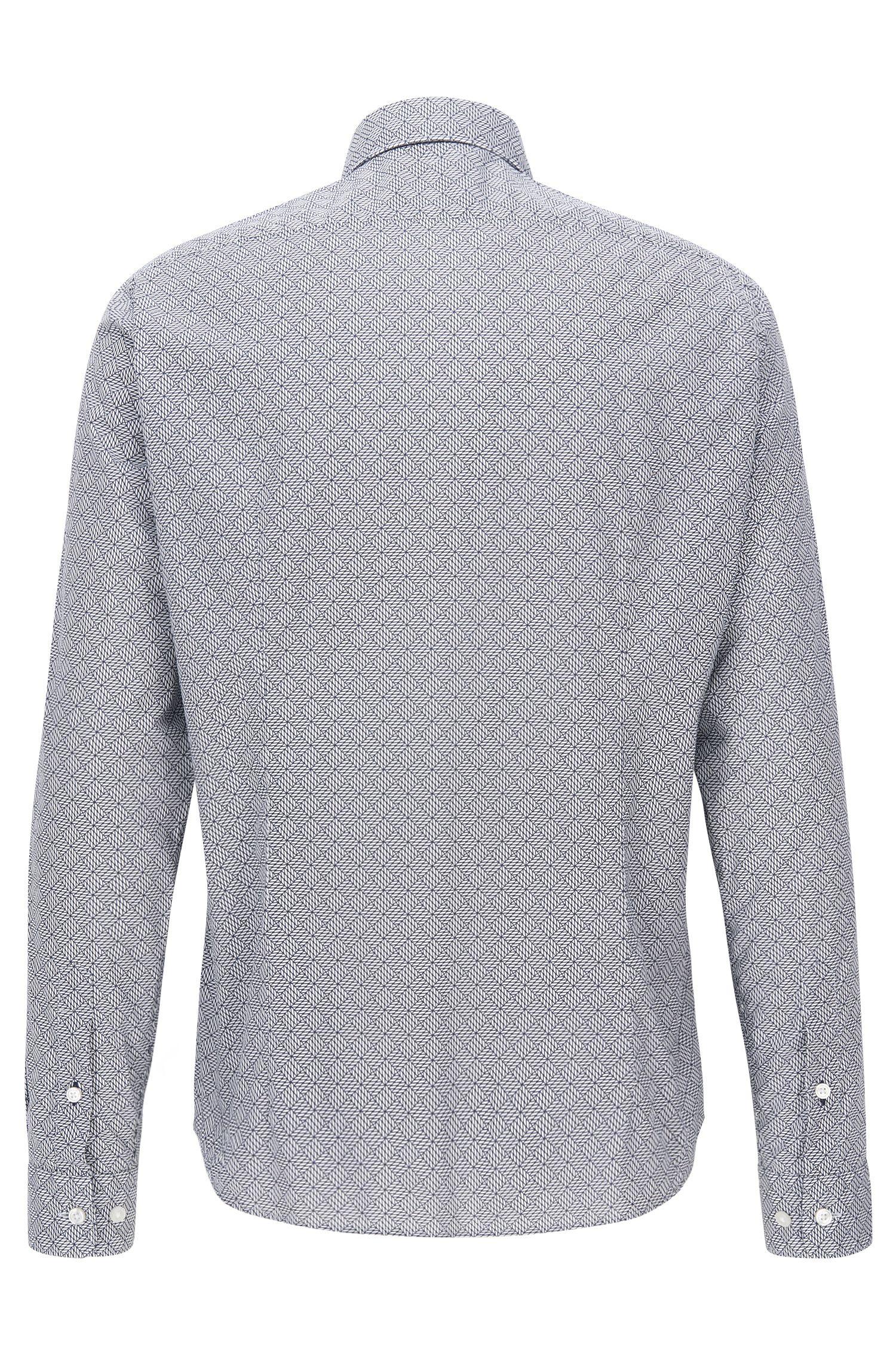 Geo-Print Stretch Cotton Poplin Button Down Shirt, Regular Fit | Lance, Dark Blue