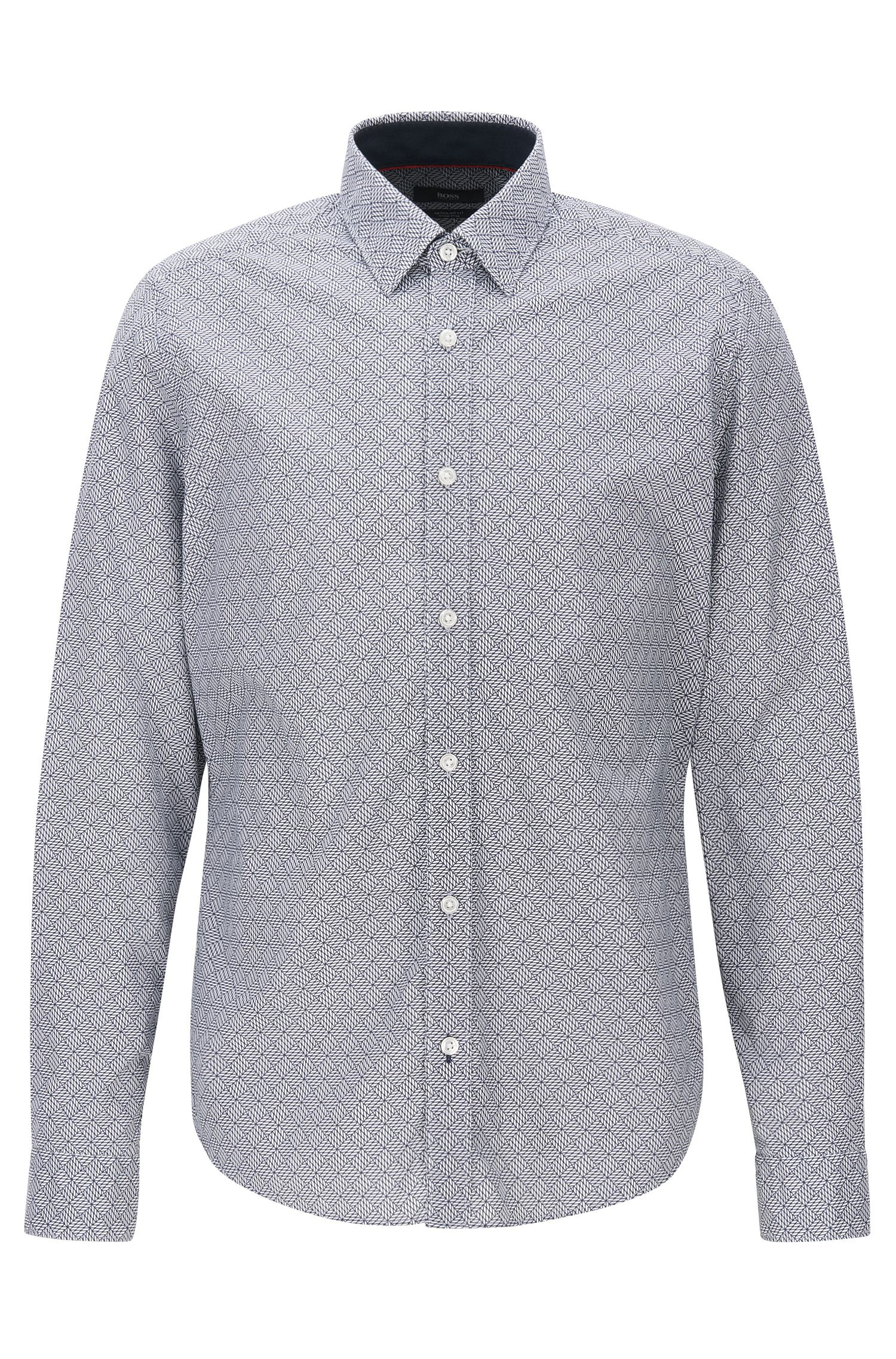 Geo-Print Stretch Cotton Poplin Button Down Shirt, Regular Fit | Lance