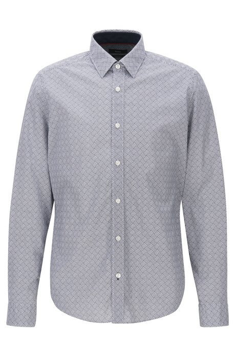 Regular-fit shirt in geometric-print cotton poplin BOSS Sneakernews Sale Online O84bjaN7Wr