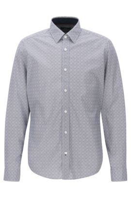 'Lance' | Regular Fit, Geo-Print Stretch Cotton Poplin Button Down Shirt, Dark Blue