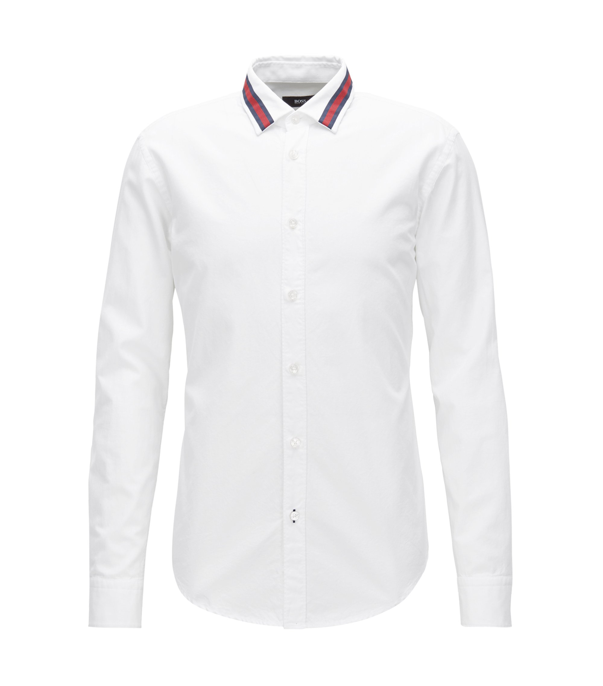 Grosgrain Oxford Button Down Shirt, Slim Fit | Ronni R, White