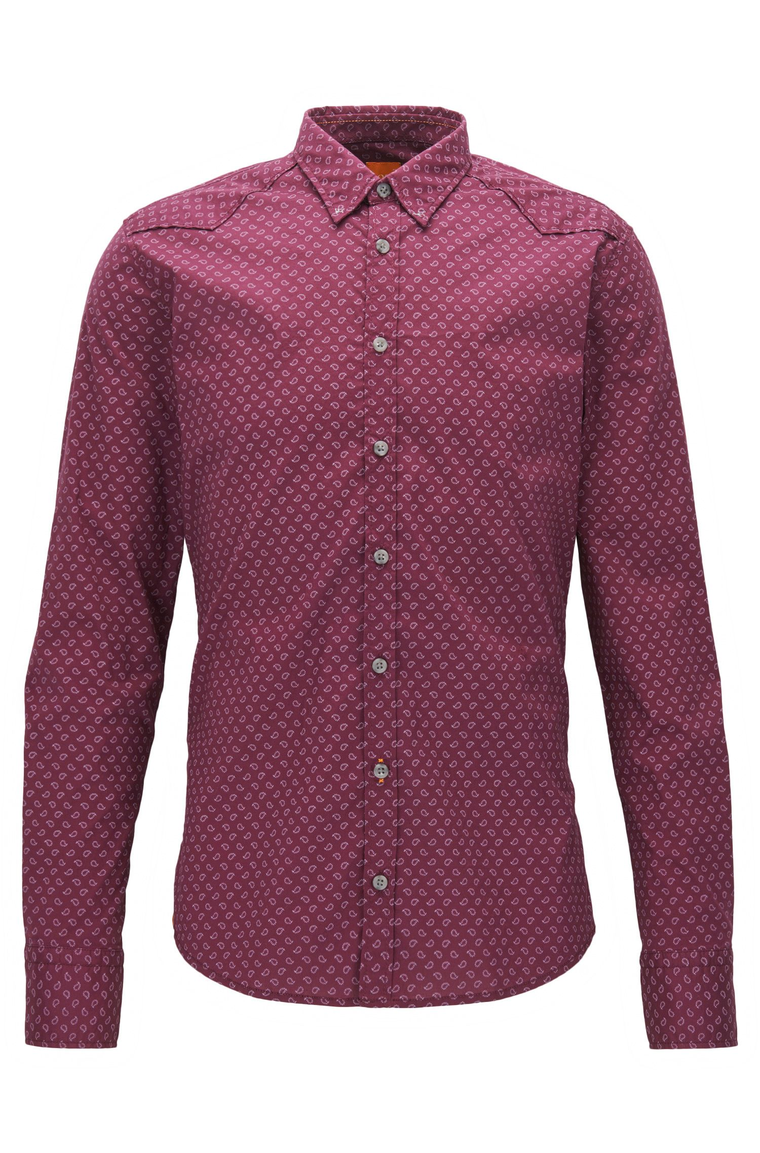 Stretch Cotton Button Down Shirt, Extra Slim Fit | Chill, Open Red