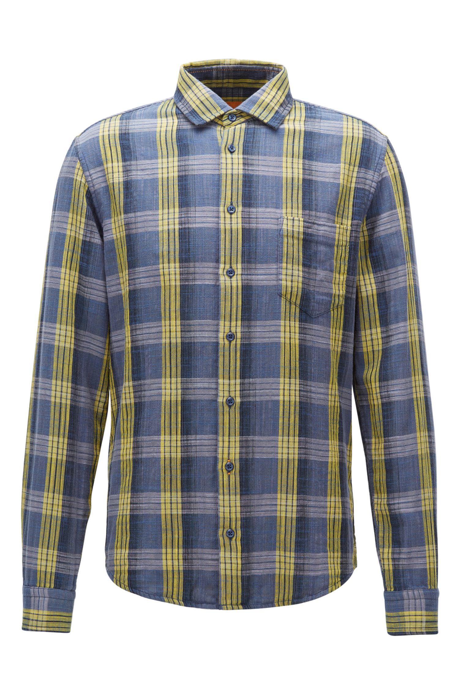 Slim Fit, Glen Plaid Cotton Button Down Shirt, Slim Fit | Epop