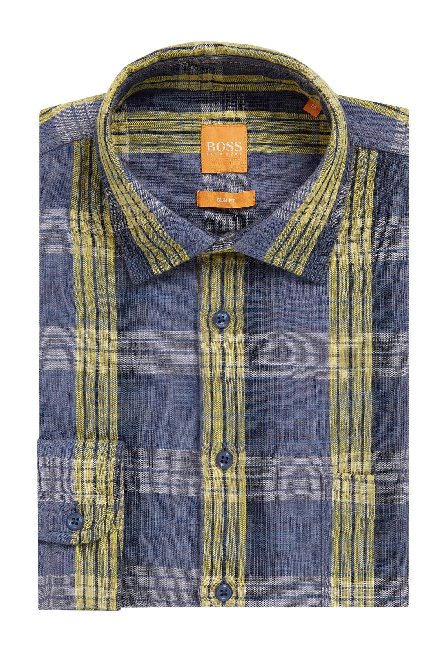 Slim Fit, Glen Plaid Cotton Button Down Shirt, Slim Fit | Epop, Yellow