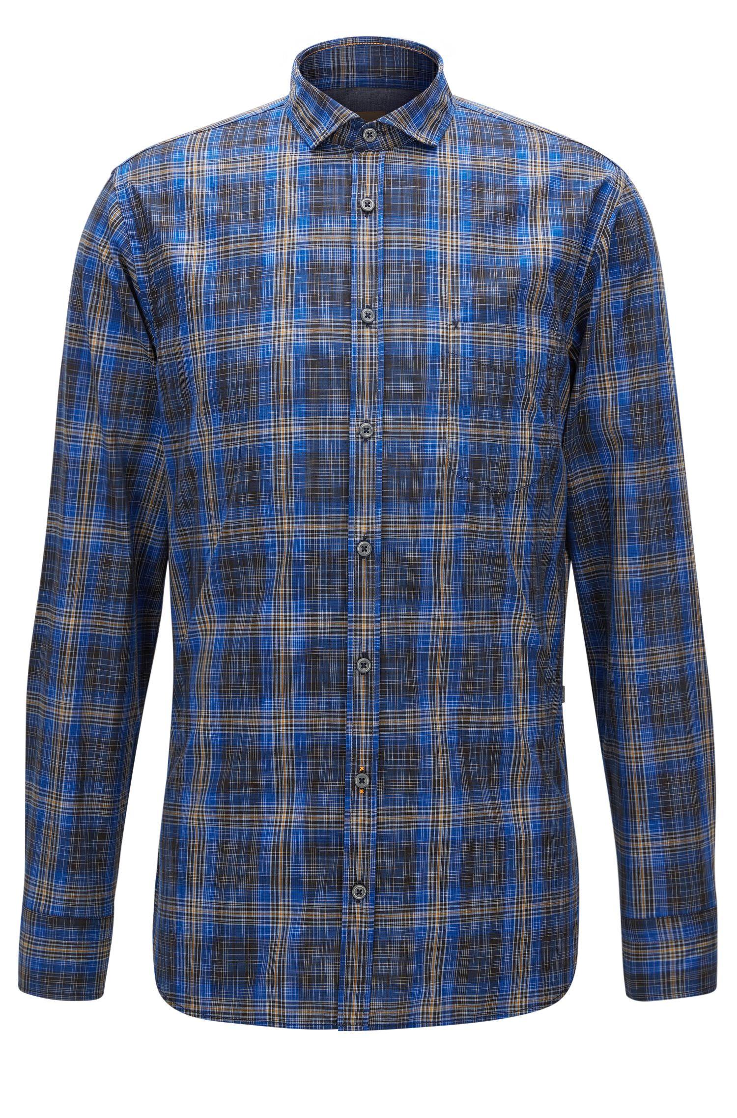 Plaid Cotton Button Down Shirt, Slim Fit | Cattitude, Blue