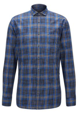 Plaid Cotton Button Down Shirt, Slim Fit | Cattitude, Blue
