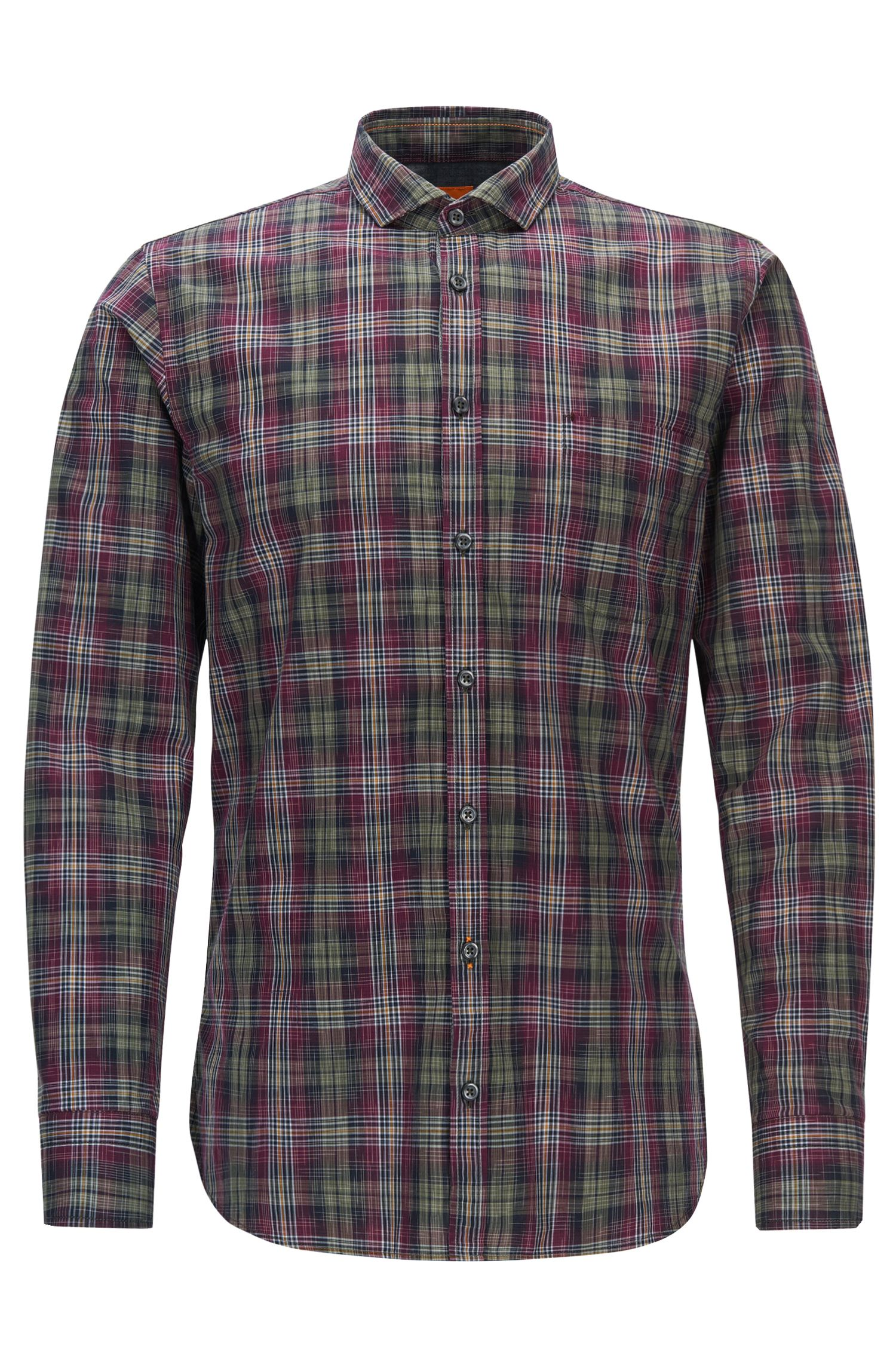 Plaid Cotton Button Down Shirt, Slim Fit | Cattitude