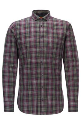 Plaid Cotton Button Down Shirt, Slim Fit | Cattitude, Open Red