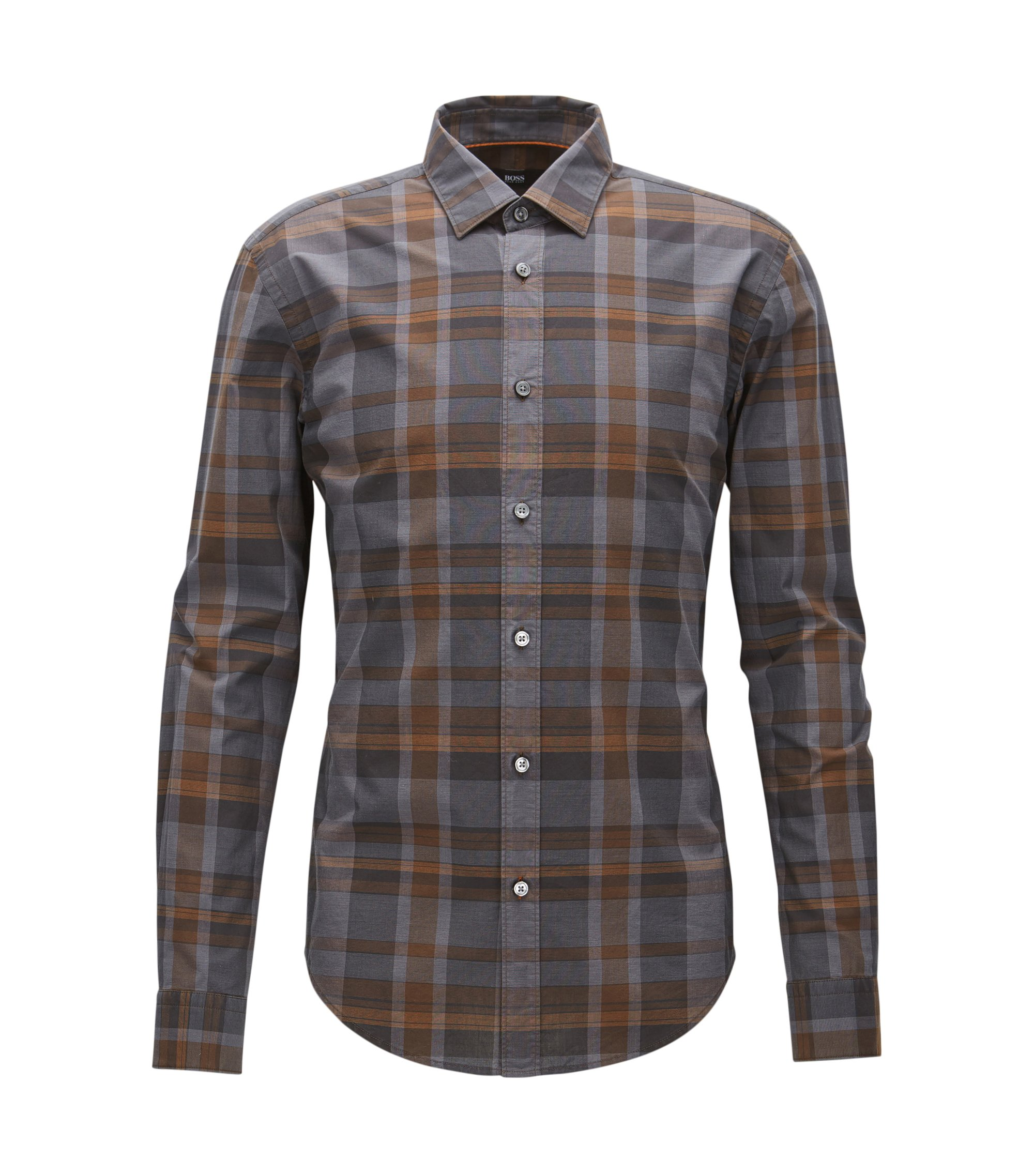 Plaid Cotton Button Down Shirt, Slim Fit | Ronni, Open Grey