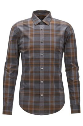 'Ronni' | Slim Fit, Plaid Cotton Button Down Shirt, Open Grey