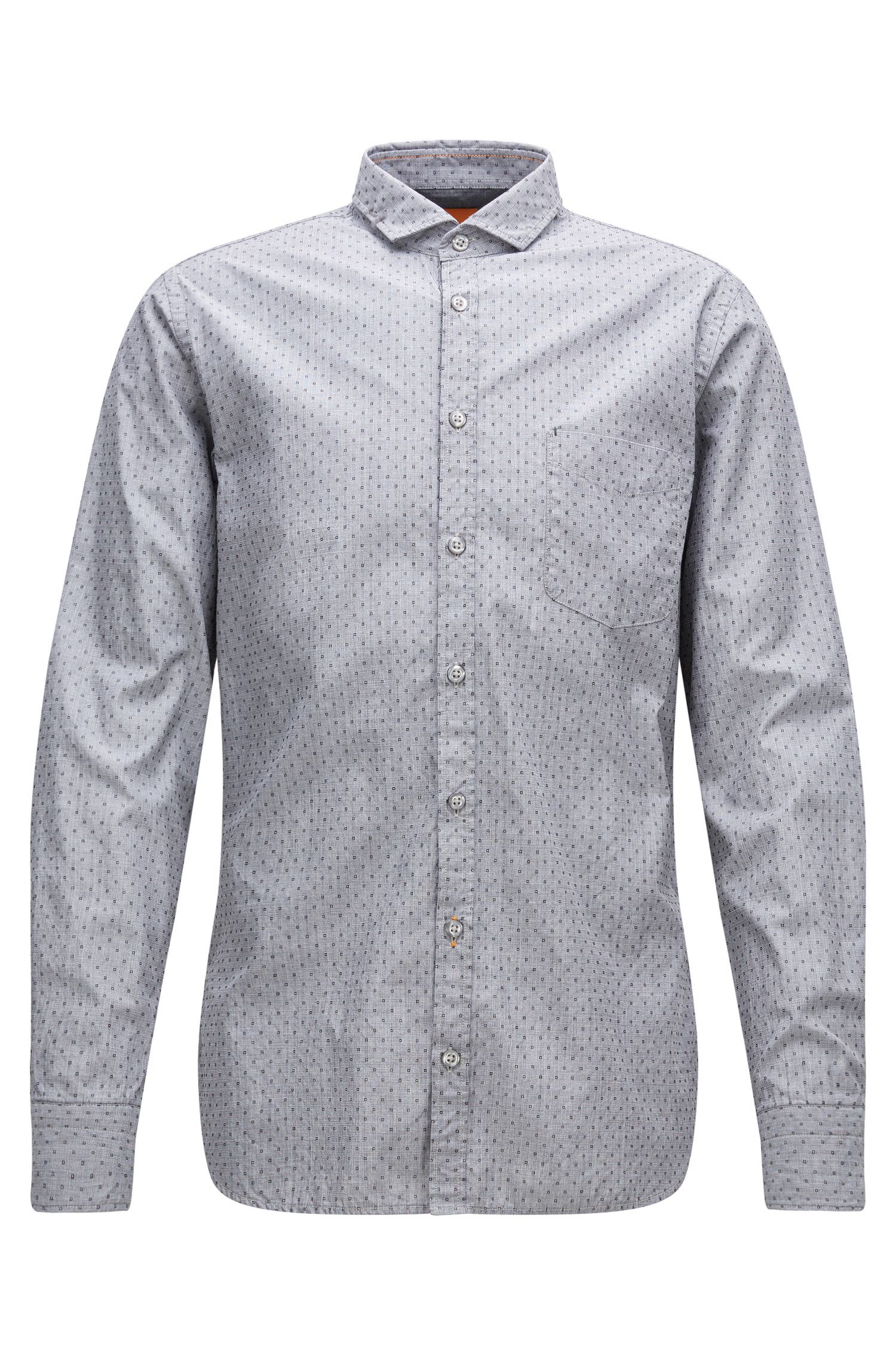 'Cattitude' | Slim Fit, End-on-End Patterned Cotton Button Down Shirt