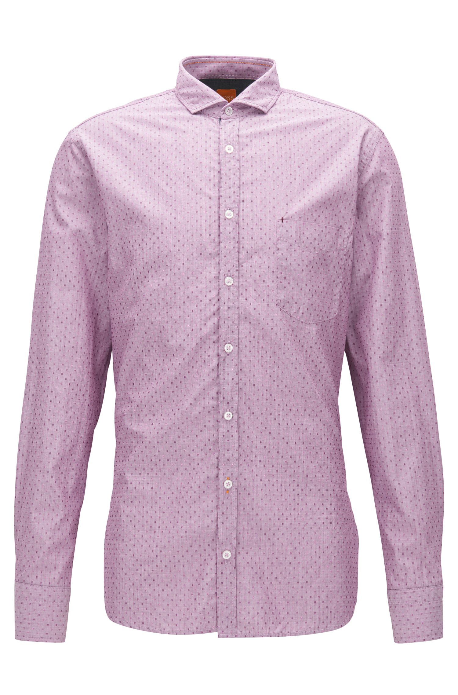 Patterned End-On-End Cotton Button Down Shirt, Slim Fit | Catitude