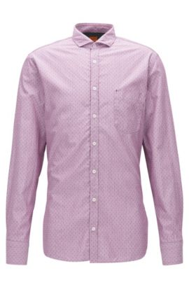 End-On-End Cotton Button Down Shirt, Slim Fit | Catitude, Open Red