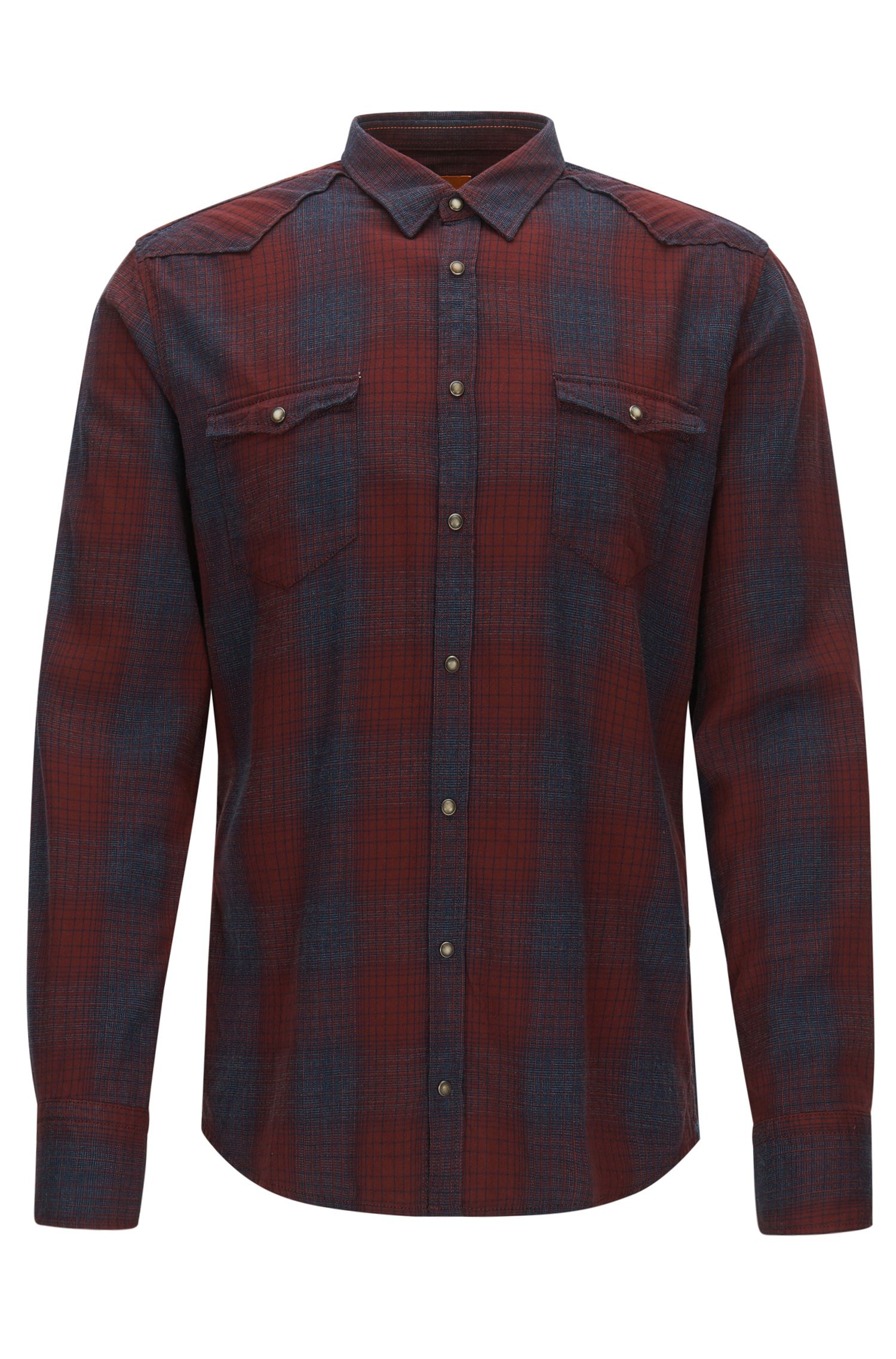 'Erodeo' | Slim Fit, Plaid Stretch Cotton Button Down Shirt, Red