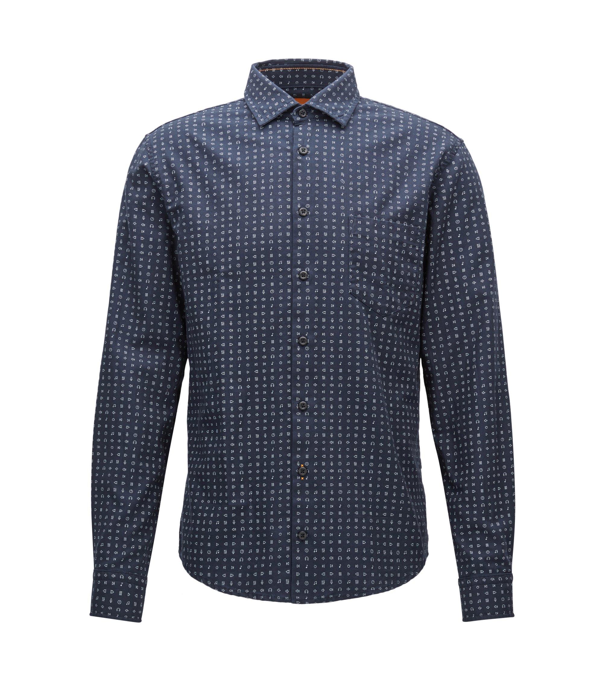 Emoji Cotton Button Down Shirt, Slim Fit | Epop, Dark Blue