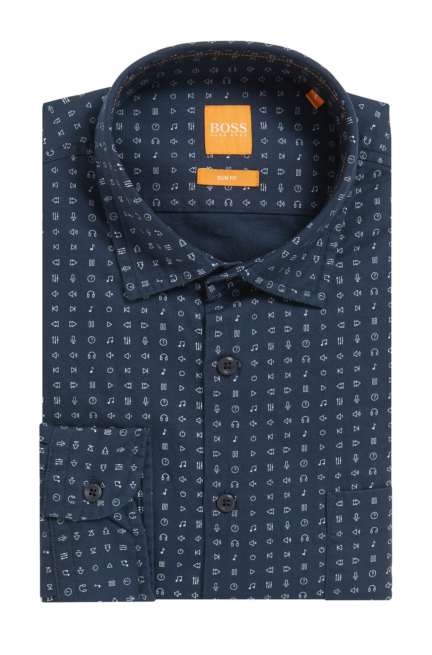 Emoji Cotton Button Down Shirt, Slim Fit | Epop