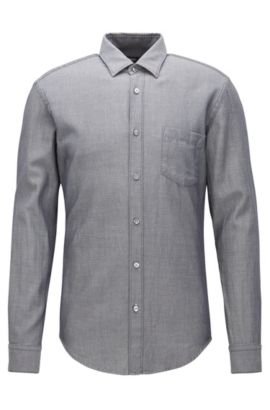 'Ronni P' | Selvidge Denim Twill Button Down Shirt, Charcoal