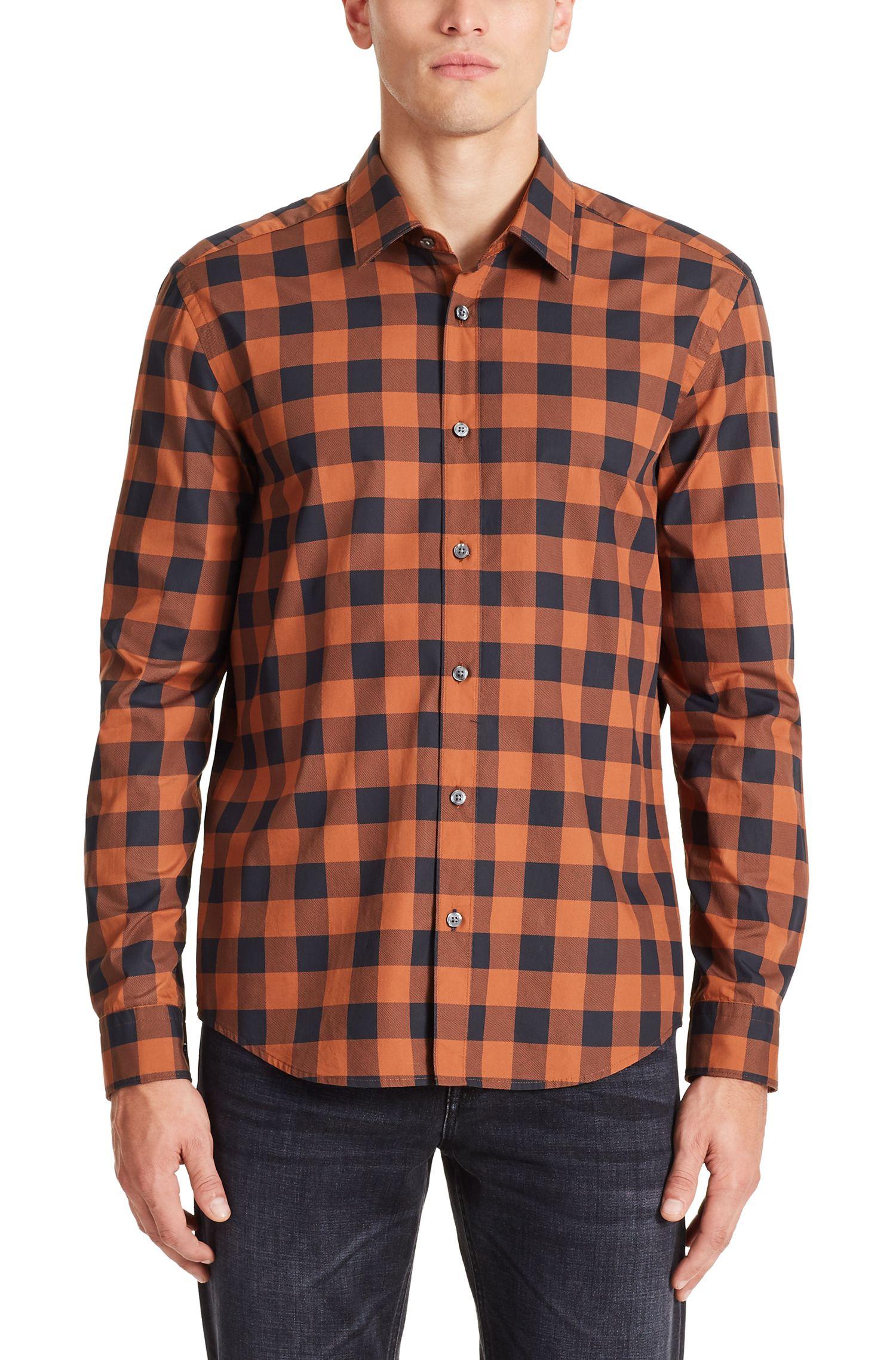 Buffalo Check Cotton Button Down Shirt, Regular Fit | Lance
