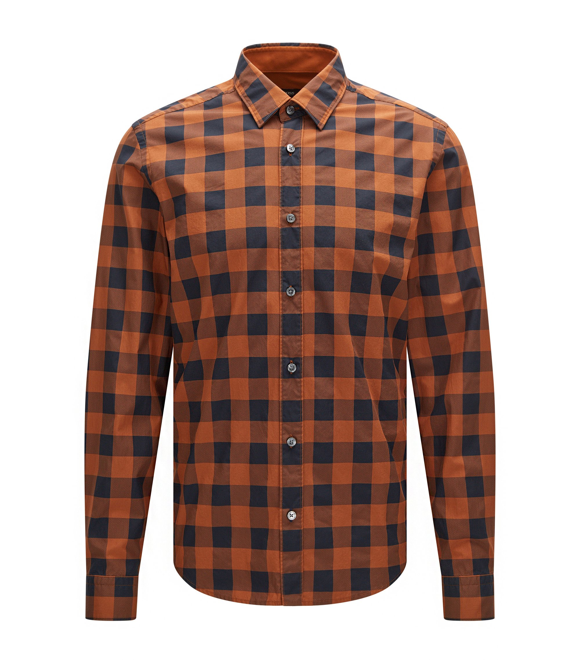 Buffalo Check Cotton Button Down Shirt, Regular Fit | Lance, Brown