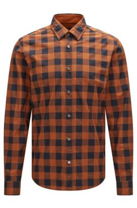 'Lance' | Regular Fit, Buffalo Check Cotton Button Down Shirt, Brown