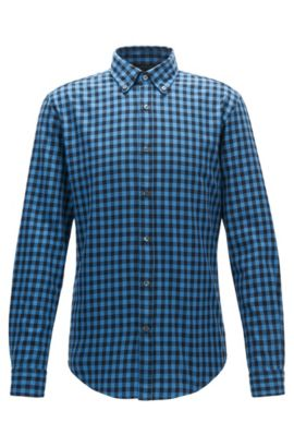 Gingham Cotton Button Down Shirt, Slim Fit | Rod, Open Blue